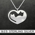Cat YinYang Heart Cats Handmade 925 Sterling Silver Pendant Necklace