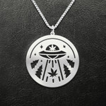 Weed ufo aliens Handmade 925 Sterling Silver Pendant Necklace
