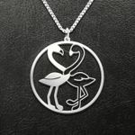 Valentine Flamingo Couple Heart Handmade 925 Sterling Silver Pendant Necklace