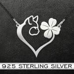 Cat Four Leaf Clover Heart Handmade 925 Sterling Silver Pendant Necklace