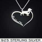 Dachshund Heart Mom Handmade 925 Sterling Silver Pendant Necklace