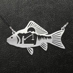 Fishing Fishing Couple Pattern Fish Handmade 925 Sterling Silver Pendant Necklace