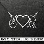Bigfoot Peace Love Bigfoot Handmade 925 Sterling Silver Pendant Necklace