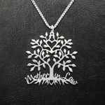 Mother-In-Law Family Tree Mom And Son Daughter Handmade 925 Sterling Silver Pendant Necklace