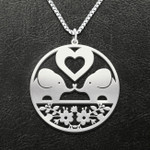 Elephant heart couple Handmade 925 Sterling Silver Pendant Necklace