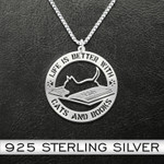 Life Is Better With Cats And Books Necklace Handmade 925 Sterling Silver Pendant Necklace