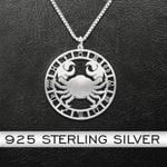 Zodiac Cancer Handmade 925 Sterling Silver Pendant Necklace