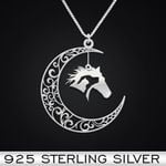 Dog horse cat moon Handmade 925 Sterling Silver Pendant Necklace