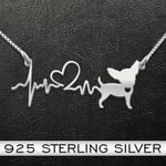 Chihuahua Heartbeat Handmade 925 Sterling Silver Pendant Necklace