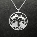 Valentine Cat Couple Handmade 925 Sterling Silver Pendant Necklace