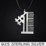 Guitar 1st Dad Handmade 925 Sterling Silver Pendant Necklace