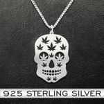Skull weed Handmade 925 Sterling Silver Pendant Necklace