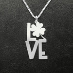St. Patrick's Day Clover Love Handmade 925 Sterling Silver Pendant Necklace