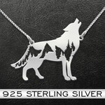 Mountain Wolf Handmade 925 Sterling Silver Pendant Necklace