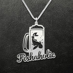 Fishing Beer And Fishaholic Handmade 925 Sterling Silver Pendant Necklace