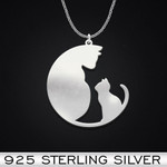 Cat Handmade 925 Sterling Silver Pendant Necklace