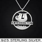 Sloth hiking team Handmade 925 Sterling Silver Pendant Necklace