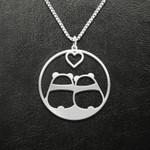 Valentine Cute Panda Couple Handmade 925 Sterling Silver Pendant Necklace