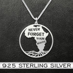 Black never forget your roots Handmade 925 Sterling Silver Pendant Necklace