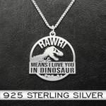 Dinosaur   Rawr! Means I Love You In Dinosaur  Dinosaur 925 Necklace Handmade 925 Sterling Silver Pendant Necklace