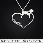 Pitbull Heart Mom Handmade 925 Sterling Silver Pendant Necklace