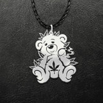Teddy Bear Smoking Joint Handmade 925 Sterling Silver Pendant Necklace
