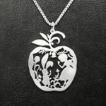Alice in the wonderland apple rabbit Handmade 925 Sterling Silver Pendant Necklace