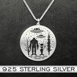 Bigfoot Alien UFO Handmade 925 Sterling Silver Pendant Necklace