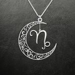 Zodiac Capricorn Moon Phase Handmade 925 Sterling Silver Pendant Necklace