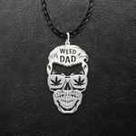 Dope Dad Weed Glasses Skull Handmade 925 Sterling Silver Pendant Necklace
