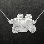 Valentine Sloth Surfing Couple Handmade 925 Sterling Silver Pendant Necklace