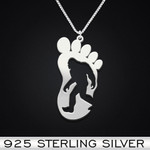 Bigfoot Believe Handmade 925 Sterling Silver Pendant Necklace