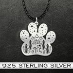 Camping dog paw Handmade 925 Sterling Silver Pendant Necklace
