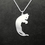 Valentine Cat Moon Couple Handmade 925 Sterling Silver Pendant Necklace