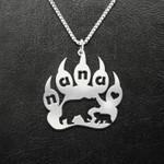 Bear Nana Bear Paw Handmade 925 Sterling Silver Pendant Necklace