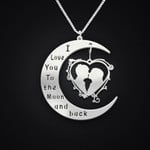Valentine I Love You To The Moon And Back Handmade 925 Sterling Silver Pendant Necklace