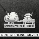 Camping Couple Handmade 925 Sterling Silver Pendant Necklace