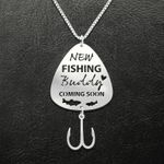 Fishing New Fishing Buddy Coming Soon Pregnancy Announcement Handmade 925 Sterling Silver Pendant Necklace