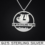 Sloth cycling team Handmade 925 Sterling Silver Pendant Necklace