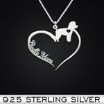 Poodle Heart Mom Handmade 925 Sterling Silver Pendant Necklace