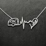 Camping Handmade 925 Sterling Silver Pendant Necklace