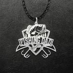 Bass Fishing Hook Dad Handmade 925 Sterling Silver Pendant Necklace
