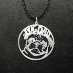 Pug Dog Dad Pet Lover Handmade 925 Sterling Silver Pendant Necklace