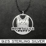 CatMeowtallic Metal Cat Handmade 925 Sterling Silver Pendant Necklace