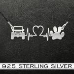 Dog Jeep And Dog Paw Heartbeat Handmade 925 Sterling Silver Pendant Necklace