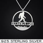 I Hate People Handmade 925 Sterling Silver Pendant Necklace