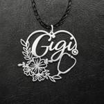 Nurse Flower Heart Gigi Handmade 925 Sterling Silver Pendant Necklace