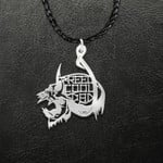 Skull Hunting Fishing Reel Cool Dad Handmade 925 Sterling Silver Pendant Necklace