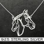 Horse Father And Son Handmade 925 Sterling Silver Pendant Necklace