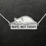 Cat Nope Not Today Handmade 925 Sterling Silver Pendant Necklace